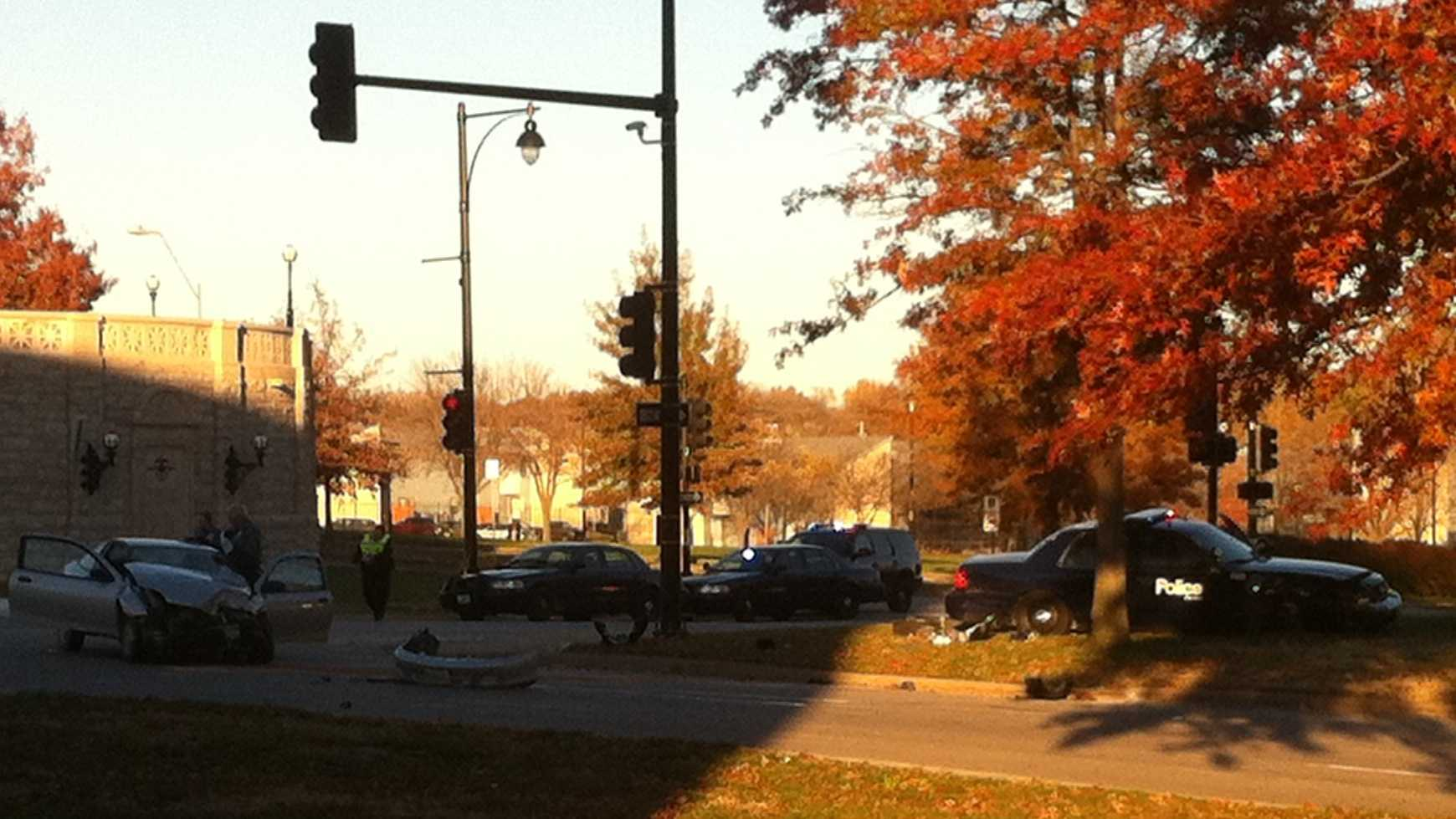 12th Street and Paseo accident involving KCMO police cruiser