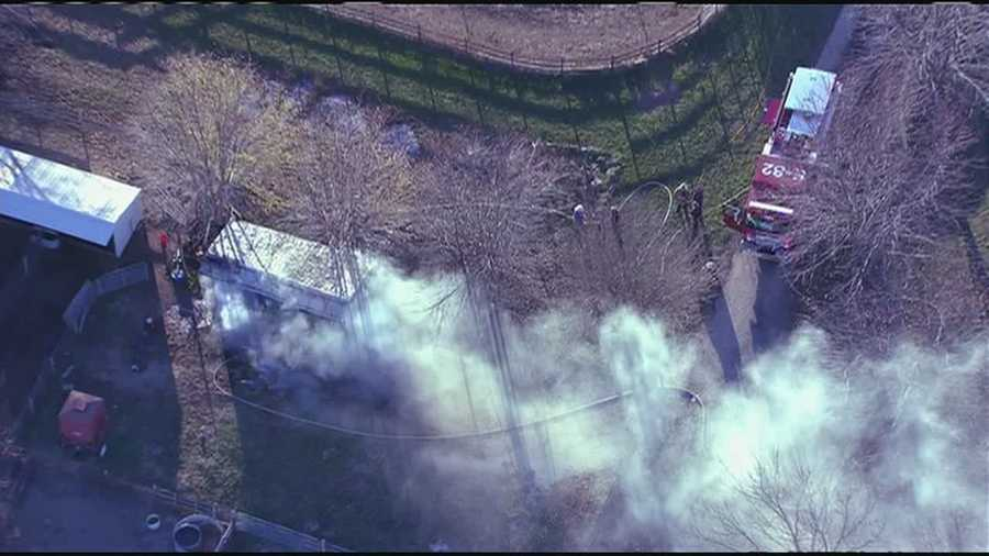 Images from NewsChopper 9 over a small barn fire at 20875 Mission Road in southern Johnson County.