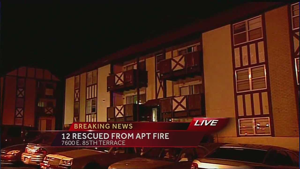 About a dozen people had to be rescued from an apartment building that caught fire overnight.