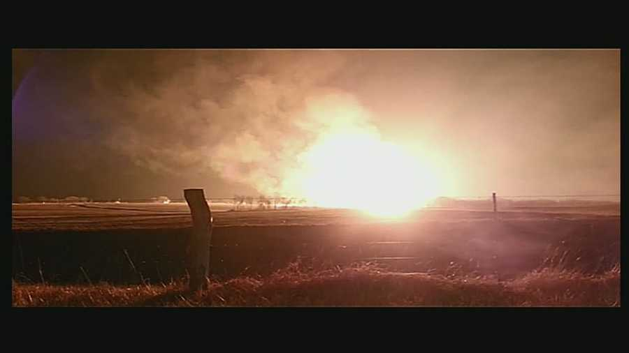 A 30-inch gas line ruptured and exploded outside a compressor station near Houstonia, Mo., early Friday morning.