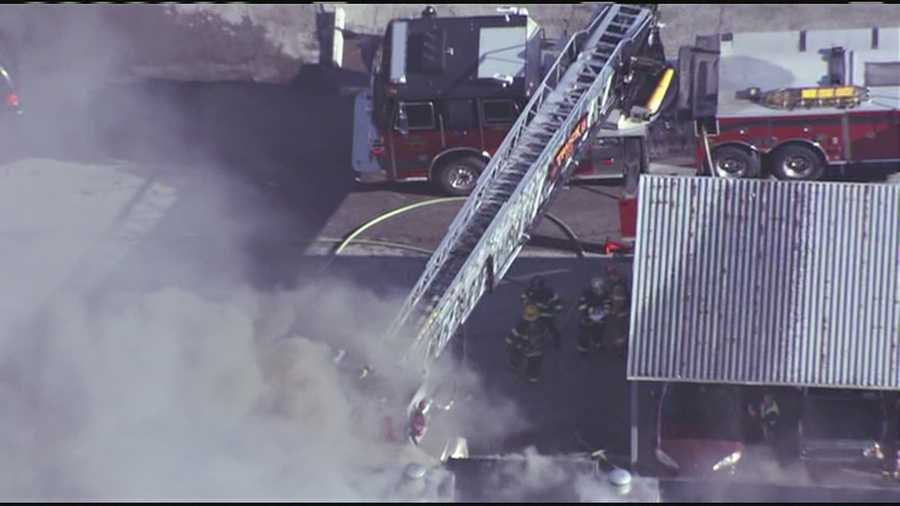 Images from a large apartment building fire in the 5600 block of Floyd Street in Overland Park, Kan.