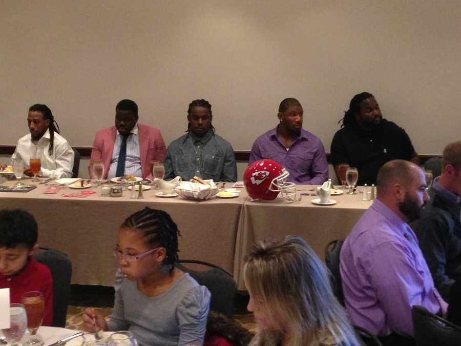 "Chiefs players host a luncheon as part of a series to ""sack"" illiteracy in Kansas City."