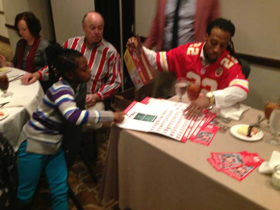 Chiefs all-around skill player Dexter McCluster shared how much his daughter Dakayla (left) loves to read.  McCluster joked he sometimes needs to pull a book away from her so that she can get some sleep.