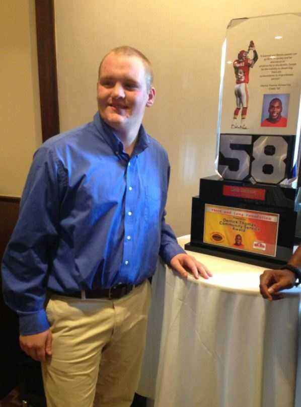 "Matt Hubbard of Liberty North High School was recognized with the first annual ""Third and Long Foundation Derrick Thomas Community Service Award.""  Hubbard says he was honored because of his volunteer work.  He is involved with athletic programs at a local YMCA for children with special needs."