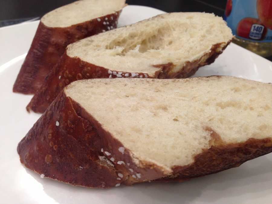 A pretzel baguette baked by Westport's Farm to Market Bread Co. is the delivery vehicle for a pound of food included in the chili bread bowl.