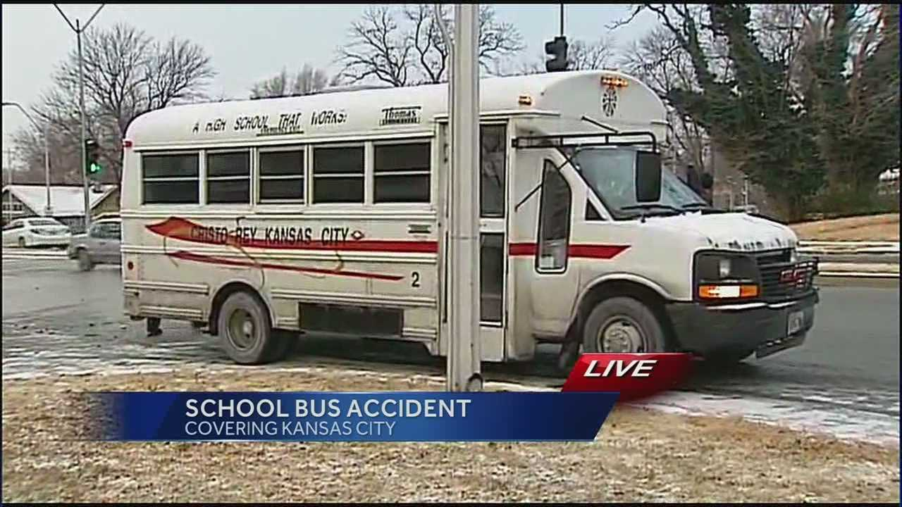 No injuries were reported after a school bus collided with a car at 59th and Paseo on Monday morning.
