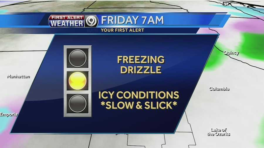 Before we get to the hour-by-hour in the next several slides, we also want you to be aware that Friday's commute could be a bit slippery due to some freezing drizzle.  Now click through the rest of the slides to see the larger weekend storm.