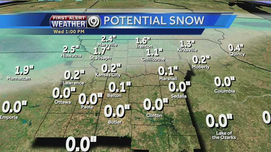 Between one and 3 inches of snow is possible with Wednesday's winter storm. Some areas could see 4 inches of snow.