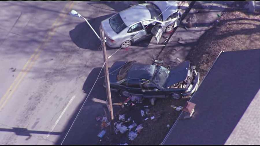 Images from 23rd Street and Hardesty Avenue where an innocent bystander was killed after their vehicle was struck by a suspect vehicle involved in a chase with Independence Police.