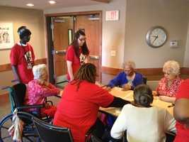 """From one KMBC viewer: """"Approximately 60 MCC-Penn Valley students and staff celebrated today by doing a variety of service work. Once group visited a location of Phoenix Family Housing and played cards and games with the residents."""""""