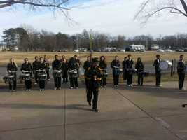 Topeka High School Drumline drops a beat to the march inspired by Dr. Martin Luther King. This photo was taken outside of the Brown v. Board of Education National Historic Site in Topeka, KS.