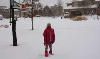 Anjani Sharma just moved here from Alabama. This is her first snow storm.