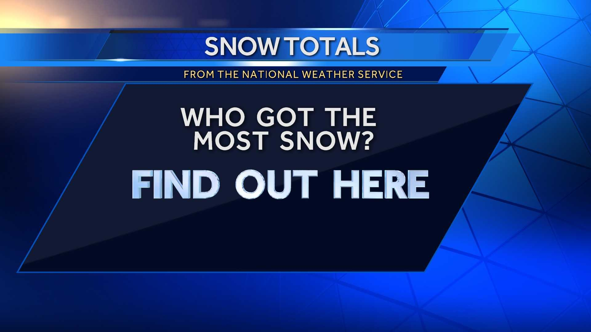 Who got the most snow from our latest winter storm? Click through the slideshow to see the top 10 cities.