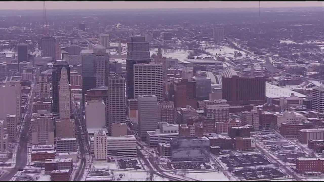 Kansas City skyline winter