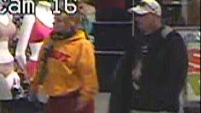 In the last incident on February 7th, one of the suspects entered the same Kohl's store wearing the same stolen shoes and, along with a female suspect, stuffed merchandise into a shopping bag, leaving it for another suspect to pick up.