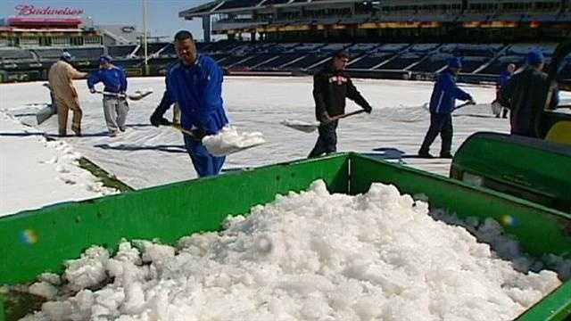 APRIL 4 - Royals play the home opener against the Chicago White Sox. Hopefully, the grounds crews won't be removing snow from the field.