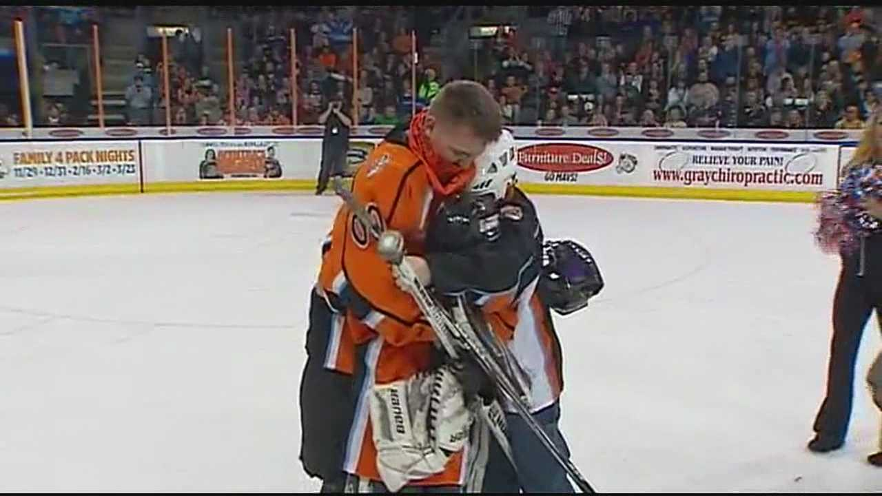 A father who just returned from a deployment to Afghanistan surprised his sons at a Missouri Mavericks hockey game on Saturday night in Independence.