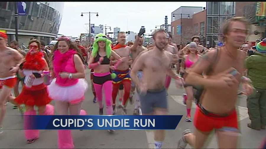 1500 people ran through downtown Kansas City, Mo., in their underwear on Saturday as they participated in Cupid's Undie Run.  These are images from the race.