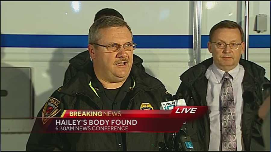 6:30 a.m. Wednesday: Police hold a news conference releasing details of the investigation, but do not say if Hailey has been located.