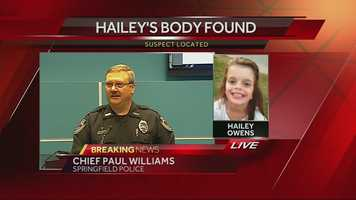 11:00 a.m. Wednesday: Police confirm a girl's body has been located. They are awaiting the results of an autopsy to confirm that it is Hailey Owens.