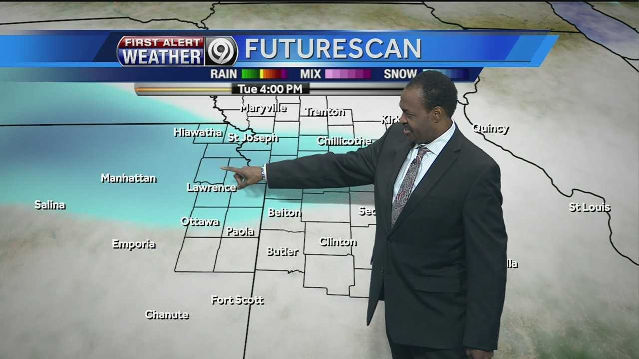 KMBC 9 chief meteorologist Bryan Busby says light snow is possible during the morning commute on Tuesday and again in the afternoon, but he does not expect significant accumulation.