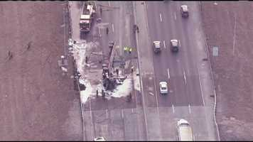 Images of the aftermath of a tractor trailer crash and fire on Interstate 35 South at Southwest Boulevard on Tuesday morning.