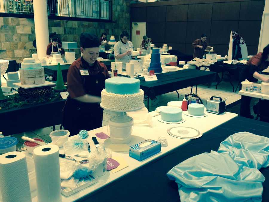 Cake decorators from Kansas City-area Hy-Vee stores compete at Independence Center Tuesday.