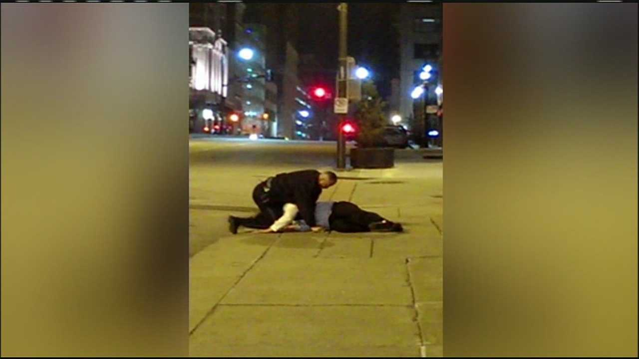 Just-released video shows the brawl that took place between an off-duty Kansas City firefighter and a police officer working security at a downtown hotel, moments before Officer Don Hubbard shot and killed Anthony Bruno.
