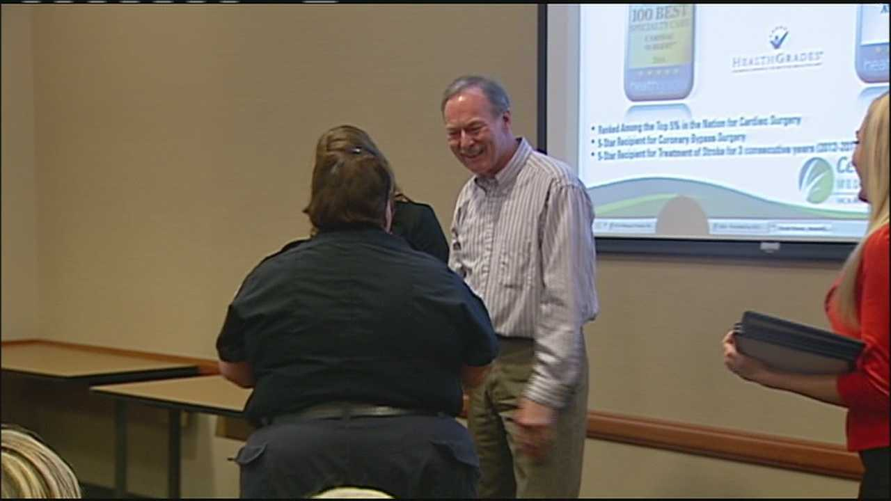 An Independence man who survived a heart attack last fall got a chance to thank the first responders who came to his aid and saved his life.