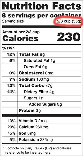 "Serving sizes would also be updated. From the FDA: ""Update serving size requirements to reflect the amounts people currently eat. What and how much people eat and drink has changed since the serving sizes were first put in place in 1994. By law, serving sizes must be based on what people actually eat, not on what people ""should"" be eating. Present calorie and nutrition information for the whole package of certain food products that could be consumed in one sitting."""