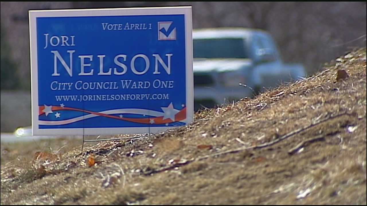 A candidate for the Prairie Village City Council's First Ward seat said she had 150 yard signs disappear from where they'd been installed over the weekend.