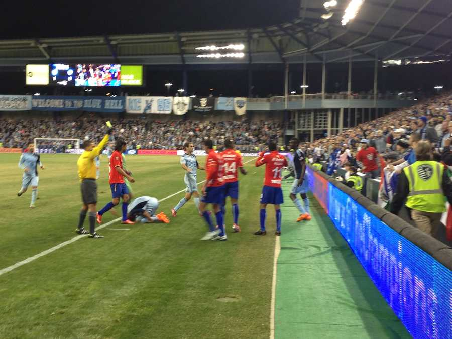 This skirmish erupted before the game ended with a 1-0 Sporting KC win.
