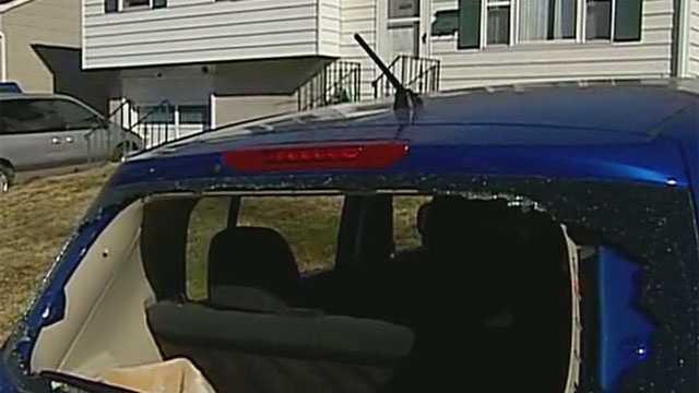 Image Cars damaged in vandalism rampage