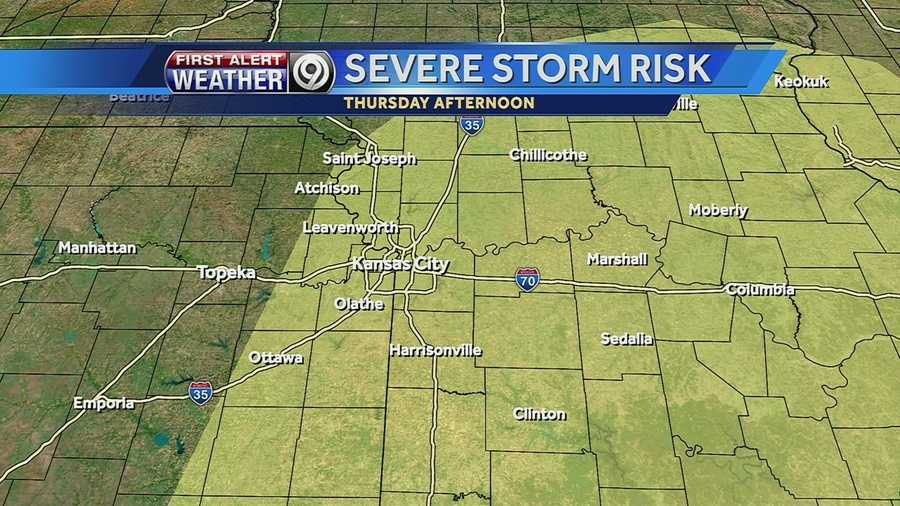 Here's a map of the areas that could see severe weather Thursday afternoon.