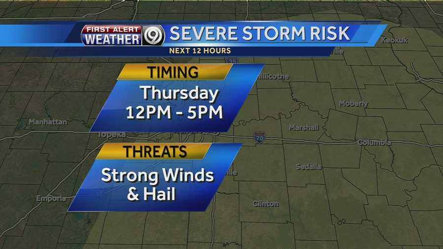 Anytime after noon, storms could develop. Strong winds and hail are the main threats of the potential severe weather.