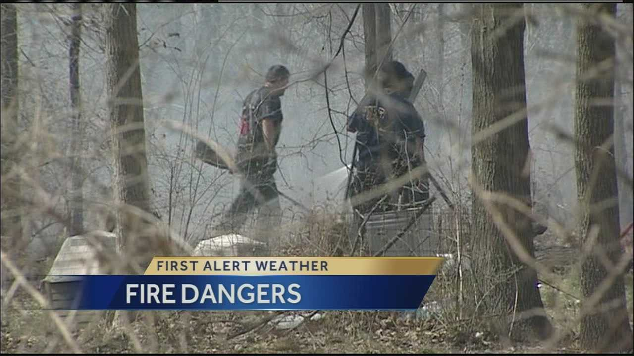 Firefighters urge people to be especially careful with flames and sparks outside Sunday because the high wind and dry conditions make fires much more likely.