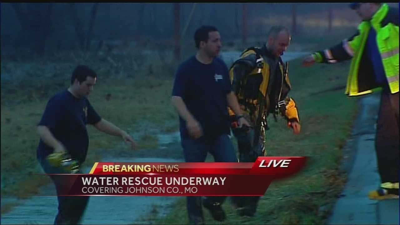 Water rescue, firefighter, near Centerview