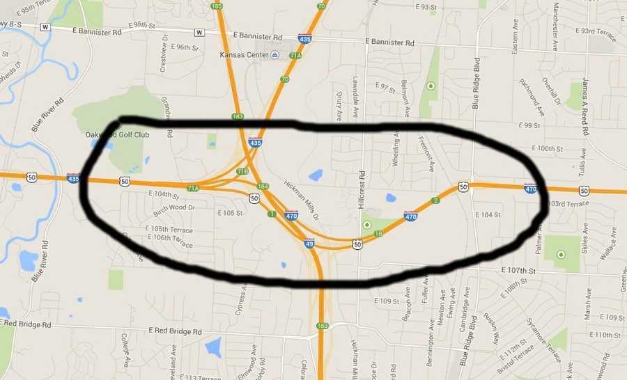 I-470 east near I-435 north