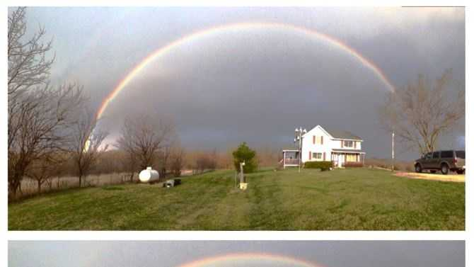 These rainbow photos taken this morning from an Excelsior Springs farmhouse have gone viral on KMBC 9 News Facebook Wall.