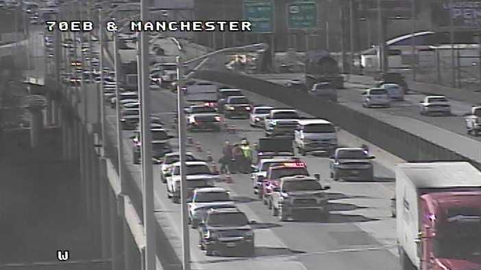 Emergency lane closure on I-70