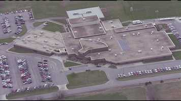 NewsChopper 9 HD above Warrensburg High School, where an employee spotted a gunman in a vehicle outside the school on Friday morning.