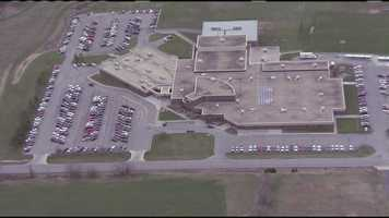 Another view above Warrensburg High School, where police responded after an employee reported a gunman outside the school.