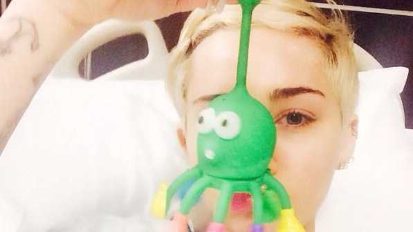 Miley Cyrus in a Kansas City hospital receiving treatment for an allergic reaction to antibiotics.