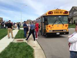 Images from 99th Street and North Stark Avenue where a BB gun or pellet gun was fired at a school bus.  One student was injured and taken to a hospital.