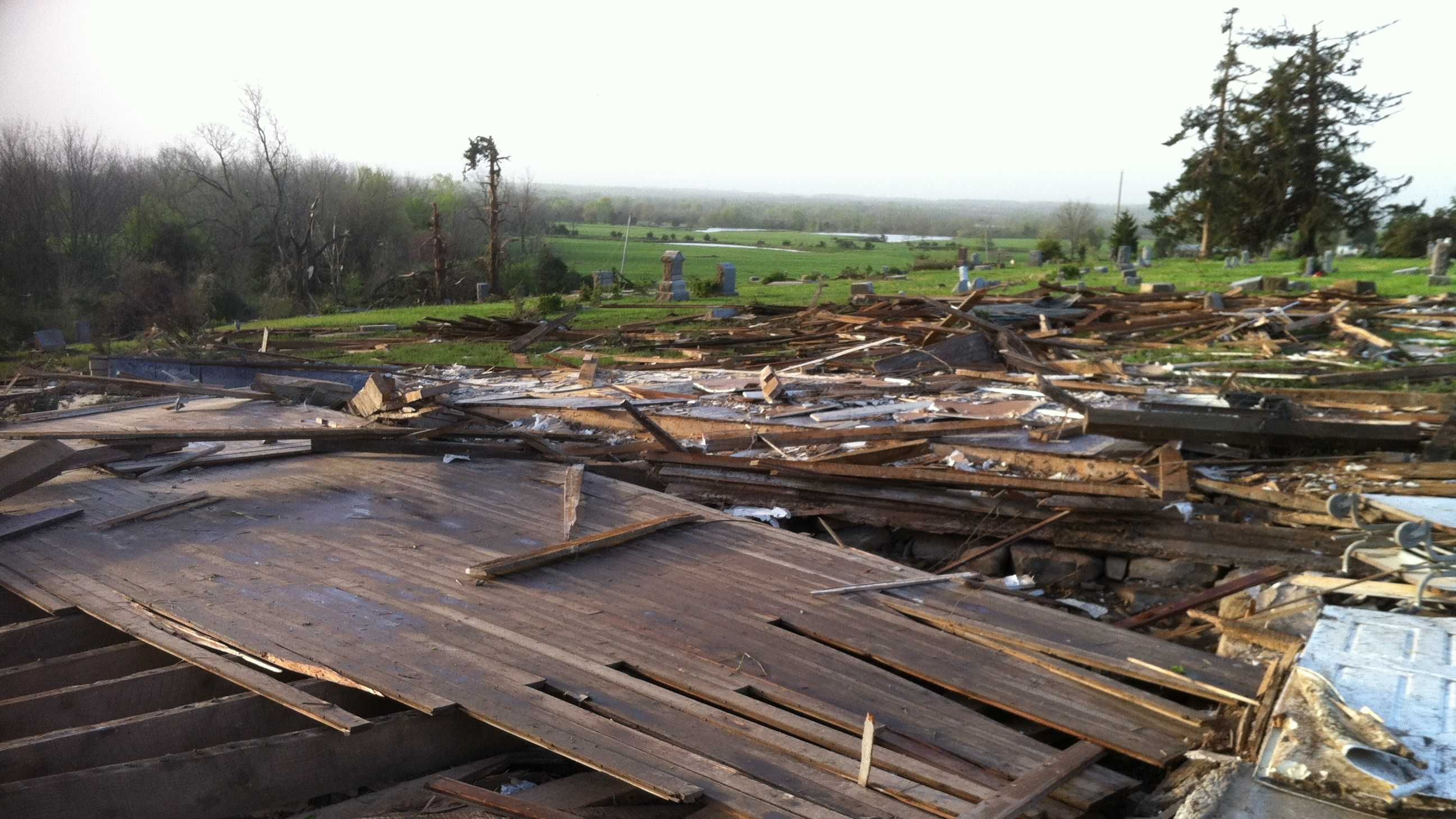 A report from Pleasanton, Kan., where a large tornado destroyed a historic church on Sunday afternoon.