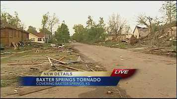 Images from Baxter Springs, Kan., where several people were injured and several homes were destroyed by a tornado on Sunday afternoon.