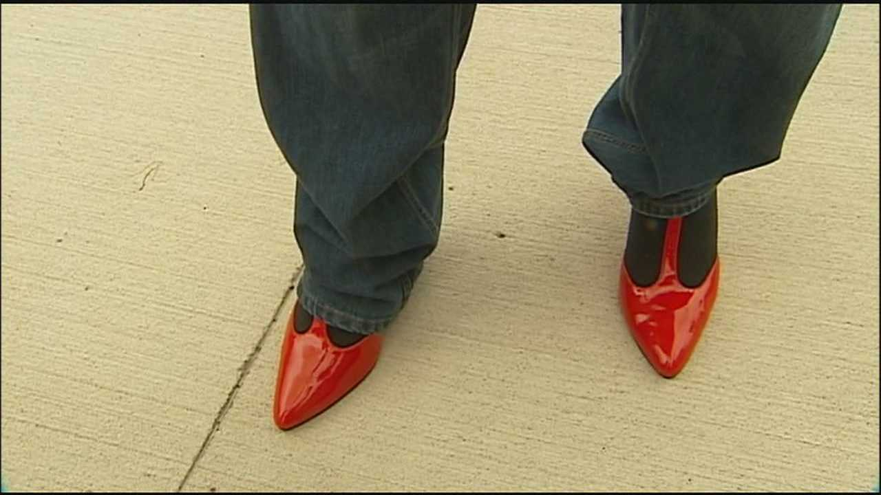 Some Kansas City area men put on high heels Thursday to bring attention to the serious topic of sexual violence against women.