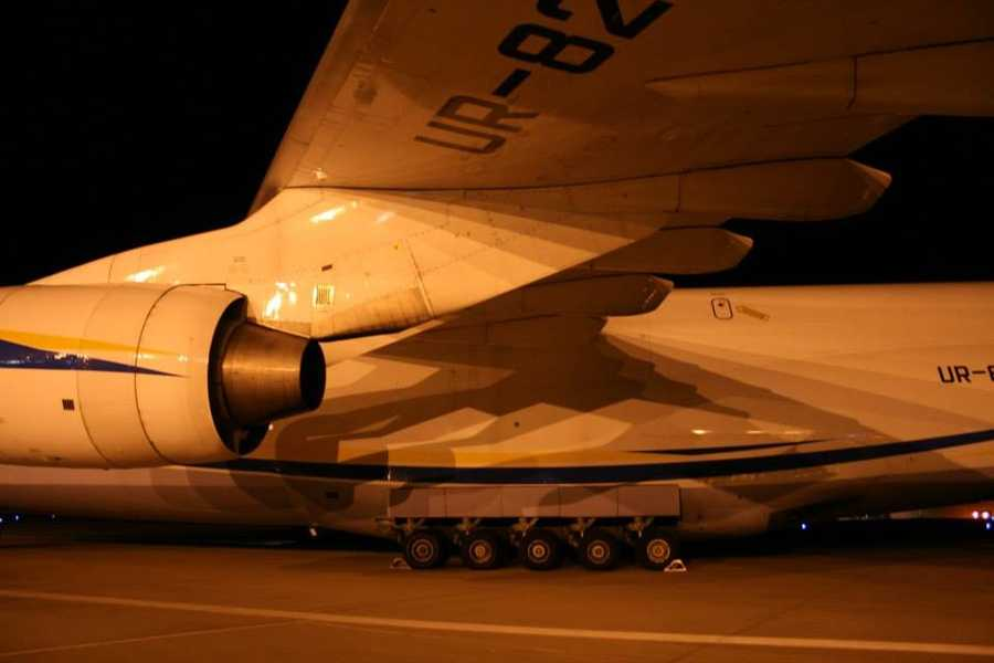 Images of a massive Antonov 124 freighter that landed at Kansas City International Airport on Monday night.  The huge plane was flying from Tulsa, Oklahoma, to Liege, Belgium, and stopped at KCI for fuel.  It was carrying aircraft wings to Belgium.  Images courtesy Kansas City International Airport on Facebook.