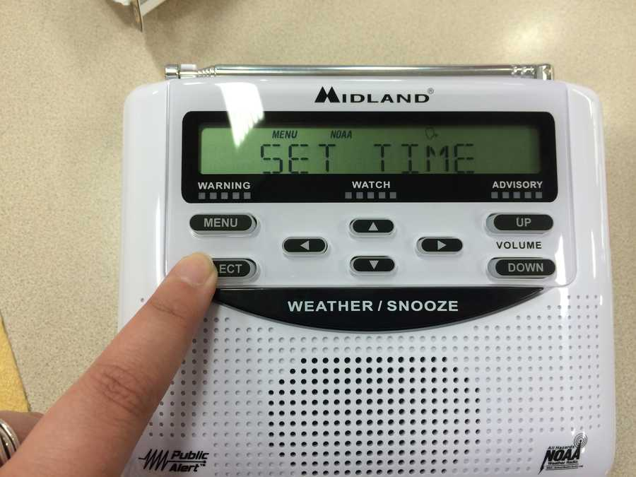Next the radio will ask you to set your time. Press 'select' then use the up/down arrows to set the clock starting with the hour (note - AM and PM change as you scroll through the hour choices). Press the arrow to the right to set the next digit. You'll set the tens and the ones place separately. Press 'select' to choose each number.
