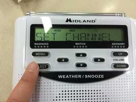 From there, you'll have to select the channel for your weather radio. Press 'select' then scroll through until you find channel 7. Press 'select' again.